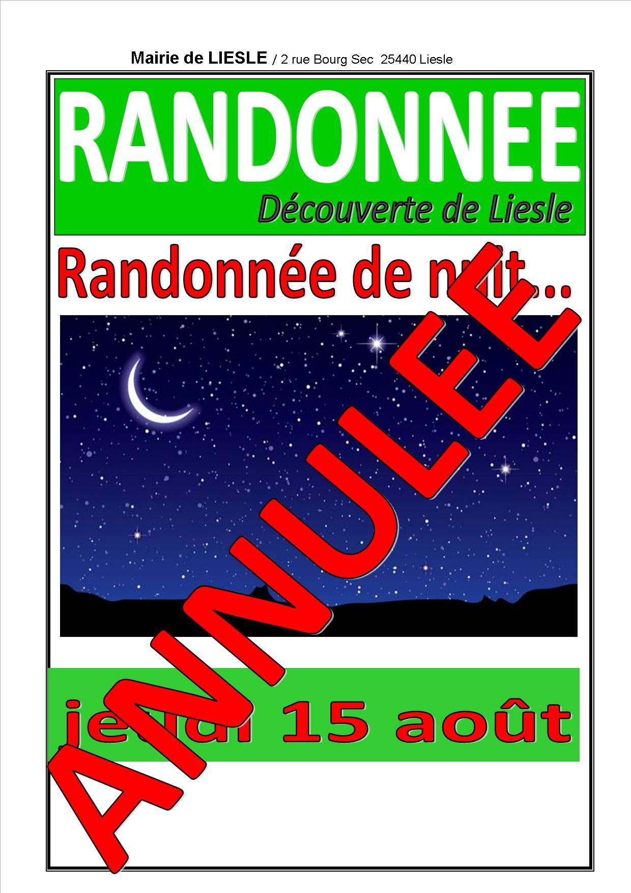 Affiche annulation rando de nuit