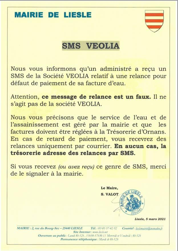 Arnaque sms veolia