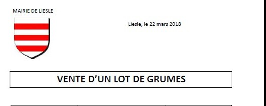 Copie de vente de lot de grumes
