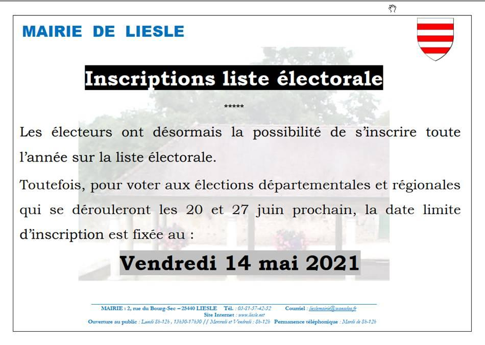 Inscription liste electorale